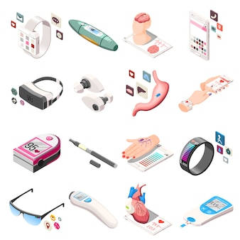 Portable electronics isometric icons