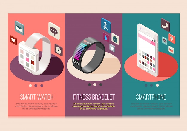 Portable electronics smart phone and watch fitness bracelet set of isometric compositions isolated