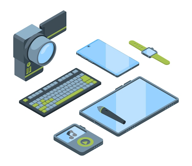 Portable gadgets isometric 3d set. collection of electronic devices isolated cliparts pack. smartphone, smartwatch, digital tablet. computer keypad, video camera, music player