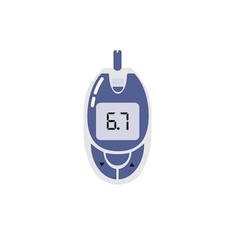 당뇨병 통제를 위한 휴대용 혈당계 벡터 일러스트 레이 션 의료 장비