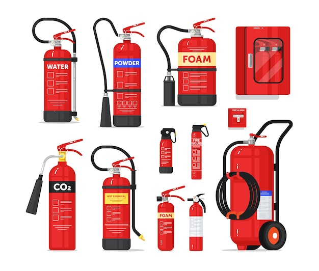 Portable or industrial fire extinguisher firefighter equipment. fire-fighting safety unit different shape and type for prevention and protection from flame spread