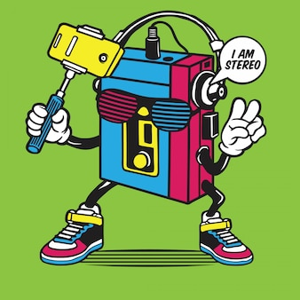 Portable music player selfie character