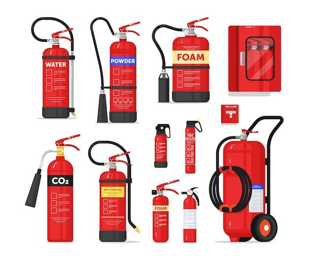 휴대용 또는 산업용 소화기 소방 장비. 화염 확산 방지 및 보호를위한 소방 안전 장치 다른 모양 및 유형