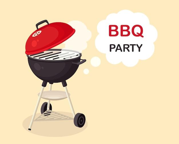 Переносной круглый мангал. устройство барбекю для пикника, семейного праздника. значок барбекю. концепция мероприятия cookout