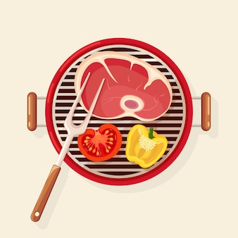 Portable round barbecue with grill sausage, beef steak, fried meat vegetables isolated on background. bbq device for picnic, family party. barbeque icon. cookout event concept flat illustration