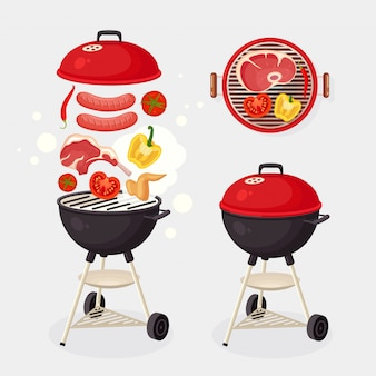 Portable round barbecue with grill sausage, beef steak, ribs, fried meat vegetables  on background. bbq device for picnic, family party. barbeque icon. cookout event concept