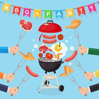 Portable round barbecue with grill sausage, beef steak, ribs, fried meat vegetables isolated on background. hand hold fork. bbq picnic, family party. barbeque icon. cookout event. flat design