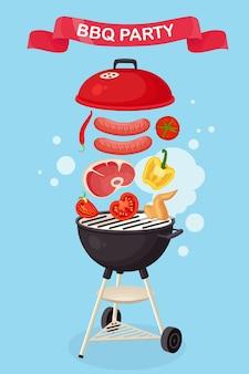Портативный круглый барбекю с колбасой гриль, стейком из говядины, ребрышками, жареными мясными овощами на фоне. устройство барбекю для пикника, семейного праздника. значок барбекю. концепция мероприятия cookout