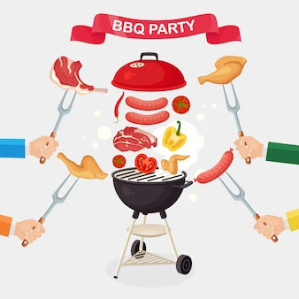 Portable round barbecue with grill sausage, beef steak, ribs