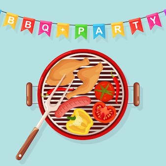 Portable round barbecue with grill sausage, fried chicken legs, ham, vegetables isolated