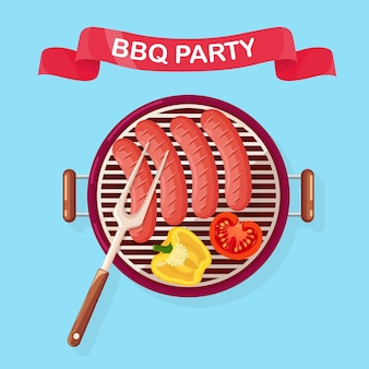 グリルソーセージ、ピクニック、家族のパーティーのための揚げ野菜バーベキュー装置を備えたポータブルラウンドバーベキュー。バーベキューアイコン。クックアウトイベントのコンセプト。