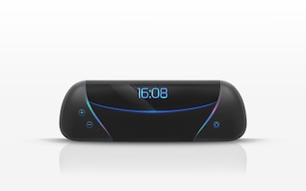 Portable speaker with digital radio clock illustration.