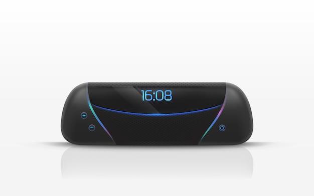 Портативный динамик с цифровой радио часы иллюстрации. Бесплатные векторы