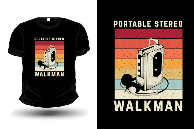 Portable stereo walkman merchandise silhouette t shirt design retro style