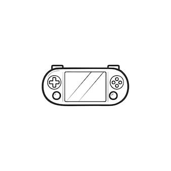 ポータブルビデオゲームコンソール手描きのアウトライン落書きアイコン。ハンドヘルドゲームコンソール、ゲームガジェットのコンセプト