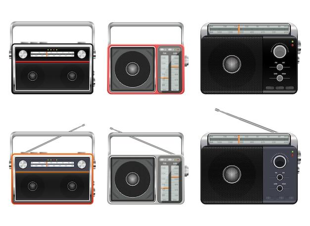 Портативный старинный радио дизайн иллюстрация, изолированные на белом фоне