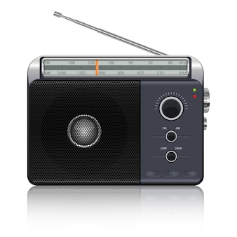 흰색 배경에 휴대용 빈티지 라디오 그림