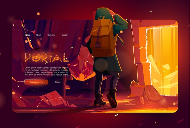 Portal banner with man in mountain cave with ancient stone arch with golden glow