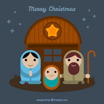 Portal characters of nativity scene in flat design
