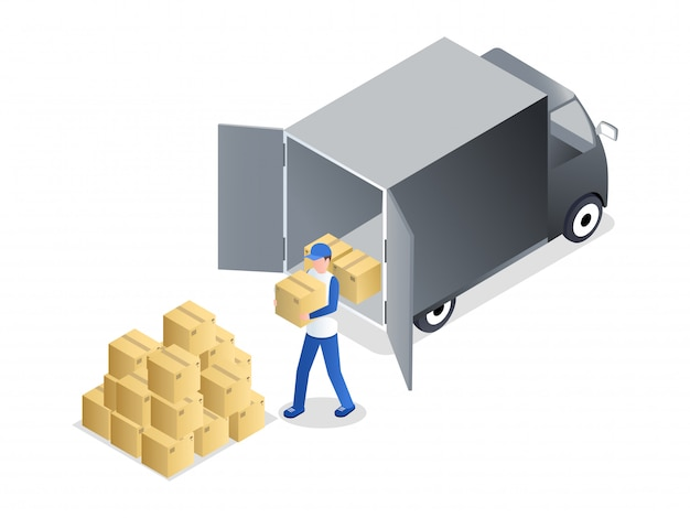 Porter unloading cargo isometric illustration. delivery service employee in uniform carrying cardboard box cartoon character.