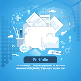 Portfolio template web banner with copy space