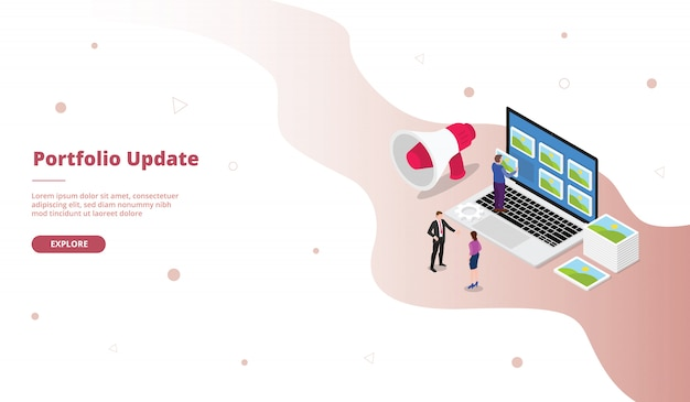 Portfolio update landing page template in isometric style