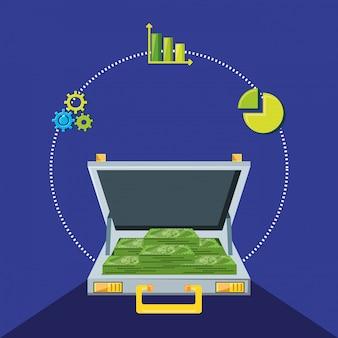 Portfolio with bills dollars and set icons economy finance