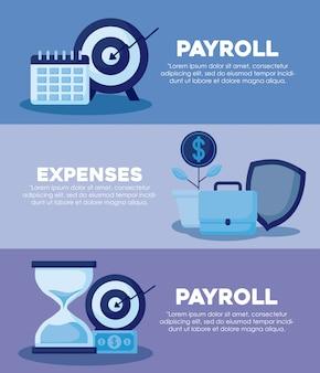 Portfolio with set icons economy finance