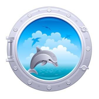 Иллюстрация иллюминатора. корабль окно с морской пейзаж и дельфин.