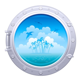 Porthole illustration. ship window with sea landscape with palm island and seagulls.