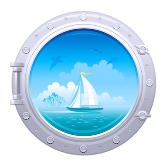 Иллюстрация иллюминатора. корабль окно с морской пейзаж с парусом корабль и пальмовый остров.