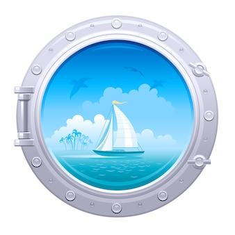Porthole illustration. ship window with sea landscape with sail ship and palm island.