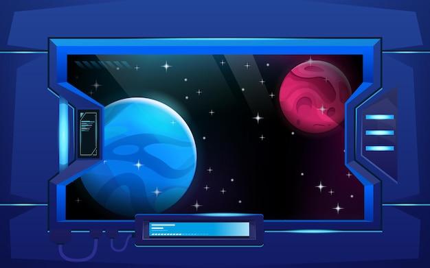 Иллюминатор или смотровое окно в коридоре космического корабля