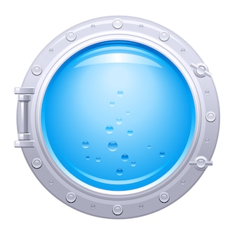 Porthole ship  illustration. submarine boat window with underwater view. blue water with bubbles.
