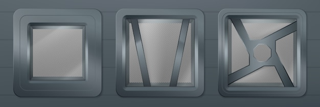 Oblò in nave spaziale, finestre quadrate in metallo