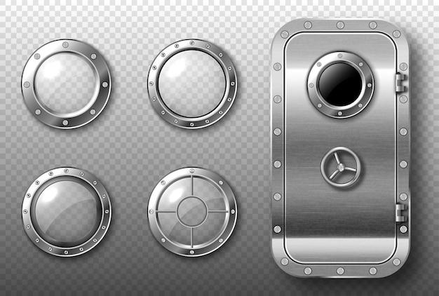 Иллюминаторы и металлическая дверь в космическом корабле, подводной лодке, лаборатории или бункере. векторный реалистичный набор круглых стеклянных окон со стальной рамой и заклепками и безопасной дверью