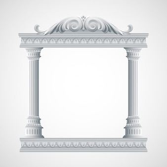 Portico an ancient temple. columns illustration