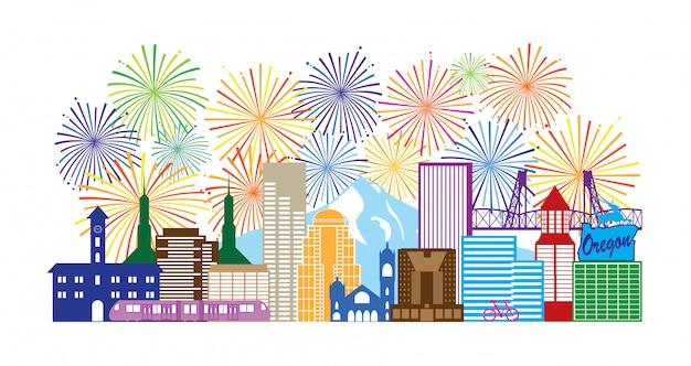 Portland oregon skyline fireworks color illustration