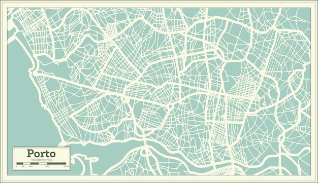 복고 스타일의 포르투 포르투갈 도시 지도입니다. 개요 지도. 벡터 일러스트 레이 션.