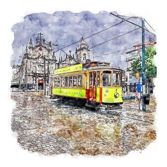포르투 포르투갈 수채화 스케치 손으로 그린 그림