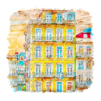 Porto portugal watercolor sketch hand drawn illustration