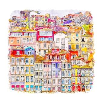 Порту португалия акварельный эскиз рисованной иллюстрации