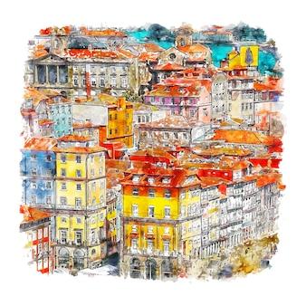 Порту португалия акварельный эскиз рисованной
