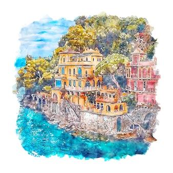 Портофино италия акварельный эскиз рисованной иллюстрации