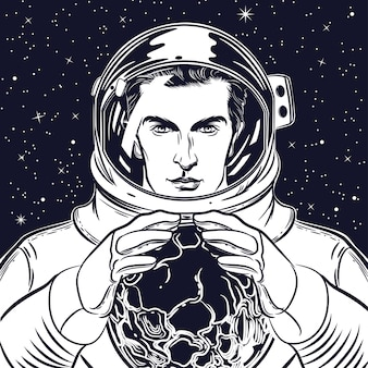 Portrait of an astronaut in a helmet
