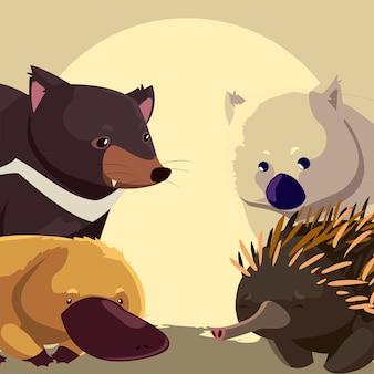 초상화 호주 동물 야생 동물 에키드나 웜뱃 오리너구리와 태즈 메이 니아 악마 그림