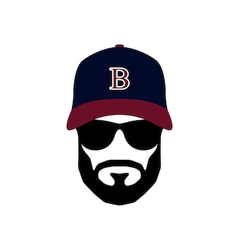 Portrait of ballplayer man wearing glasses and hat