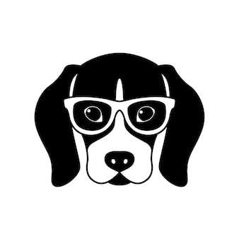 Portrait of beagle in glasses isolated on white background