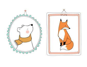 Portrait bear and fox in vintage frame for autumn