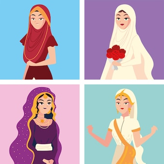 Portrait of beautiful arab brides